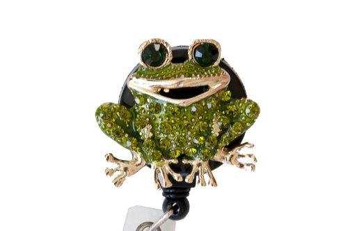 Rhinestone Medical Field ID Badge Pull Reels Retractable ID Badge Holders (Green Frog)