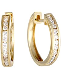 Stunning Round Diamond Hoop Earrings in 14K Gold; Choose from 1/4 , 1/3, or 1/2 ctw Diamonds (G Color, SI1-SI2 Clarity)
