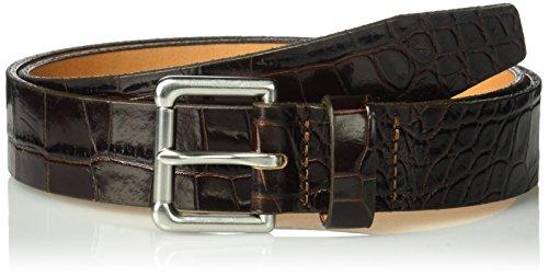 Circa Leathergoods Men's Crocodile Embossed Italian Leather Belt Accessory, dark brown, -