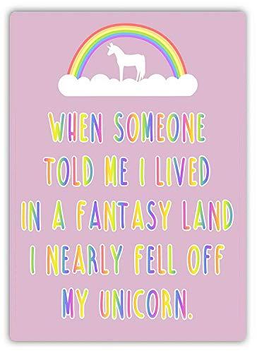 Dozili I Nearly Fell Off My Unicorn (Pink) Metal Wall Sign Plaque Art Inspirational 12