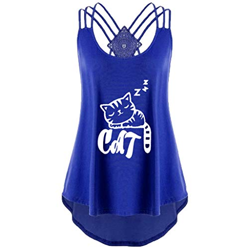Tank Tops for Women Criss Cross Cat Print Sleeveless Bandages Vest Top Strappy Tank Tops Blue