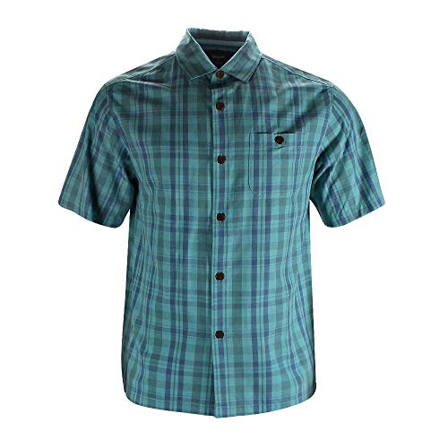- Blank&Black Men's Woven Short-Sleeved Shirt Blue Check L