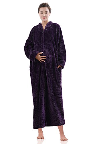 Artfasion Maternity Womens Pregnant Soft Zip Front Bathrobe Long Nightgown Fleece Robe