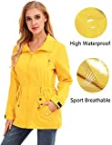FISOUL Raincoats Women's Waterproof Lightweight Rain Jacket Outdoor Hooded Trench Yellow M