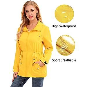584286ed3 FISOUL Raincoats Women's Waterproof Lightweight Rain Jacket Outdoor Hooded  Trench