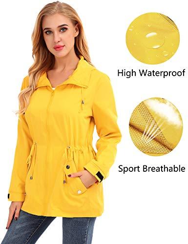 FISOUL Raincoats Womens Waterproof Lightweight Rain Jacket Outdoor Hooded Trench Yellow M