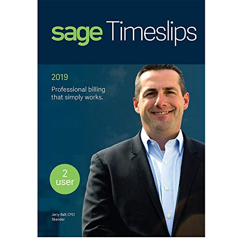 Sage Timeslips 2019, Time Tracking and Billing Software, Easy Data Entry, Over 100 Predefined Reports, Track Billable Hours, Streamline Billing Cycle, Guided Setup Wizard, Drag & Drop Design, 2-User -