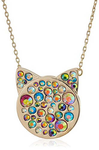 - Betsey Johnson Women's Multi-Stone Pave Cat Pendant Necklace, One Size