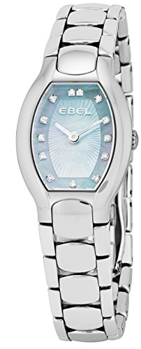 Ebel Beluga Tonneau Womens Light Blue Mother-of-Pearl Face Diamond Stainless Steel Bracelet Swiss Quartz Watch 1216249