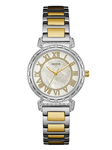 Guess Pearl (GUESS Women's U0831L3 Dressy Silver-Tone Watch with MOP Dial , Crystal-Accented Bezel and Stainless Steel Pilot Buckle)