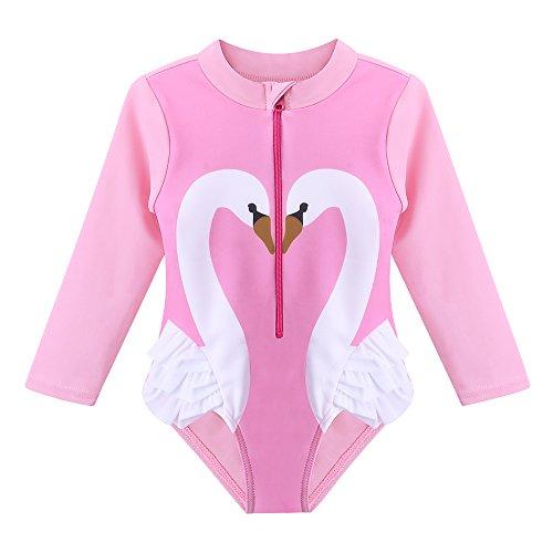 HUANQIUE Baby/Toddler Girl Swimsuit Rashguard Swimwear Long Sleeve One-Piece Pink Swan 3-4 ()