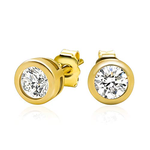 Flower Cubic Stone - 14k Yellow Gold Plated 925 Sterling Silver Bezel Set Cubic Zirconia Stud Earrings, 3mm stone