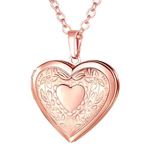 (U7 Rose Gold Locket Necklace with Free Chain 22 Inch, Romantic Flower Heart Photo Locket Pendant for Women Girls)