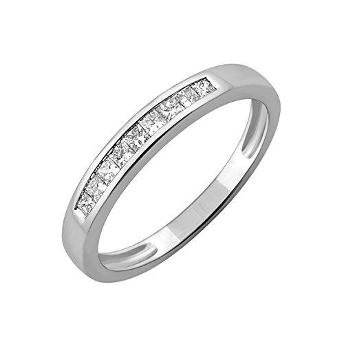 Designer Princess Cut Diamond Band (IGI Certified 14k White Gold Princess Cut Diamond Wedding Ring Band (1/4 Carat); size 5)