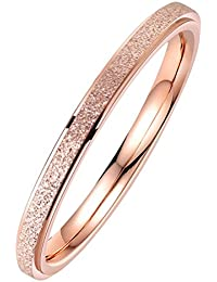 Women's Stainless Steel 2MM Thin Rose Gold Silver Stackable Midi Ring Engagement Wedding Band