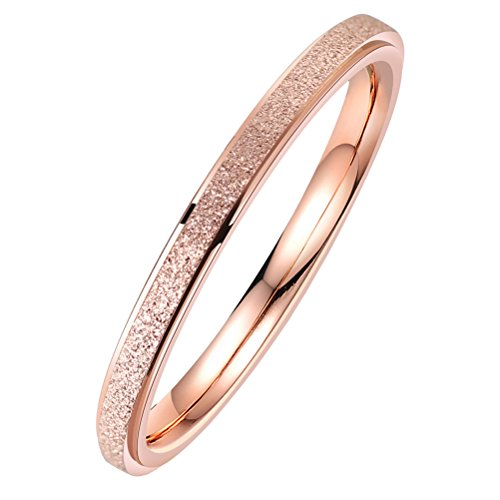 PAURO Womens Stainless Steel 2MM Thin Rose Gold Stackable Midi Pinky Ring Engagement Wedding Band Size 8