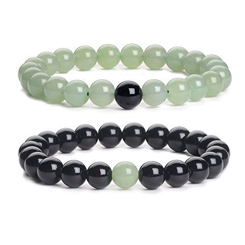 iSTONE Distance Bracelet 2PCS Black Agate & Green Aventurine Energy Stone Beads Bracelet Set Couple Jewelry 204700501