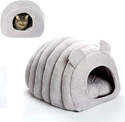 SOWATT Pet Igloo Hut Kitten Cave Bed Pet Tent Cave Bed for Small Breed Dogs or Cats Machine Washable Grey