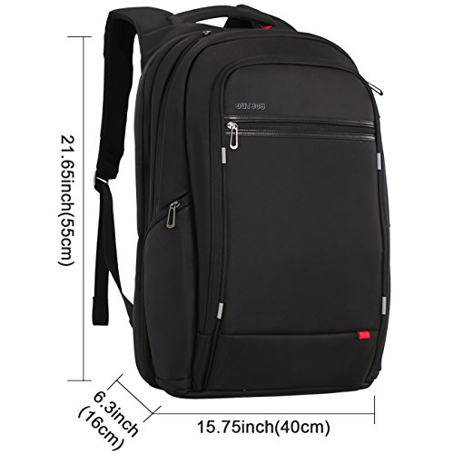 18 inch large Laptop Backpack for Men,Water Resistant Polyester Backpack with USB Charging Port,Large Bookbag College Backpack Travel bag Black Business Backpack fit 15.6 17.3 laptops by Outjoy by OUTJOY (Image #5)