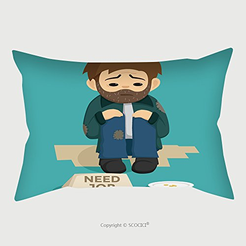 Custom Microfiber Pillowcase Protector Unemployed Man Sit On The Side Of Street With Need Job Text On The Paper 286439600 Pillow Case Covers Decorative