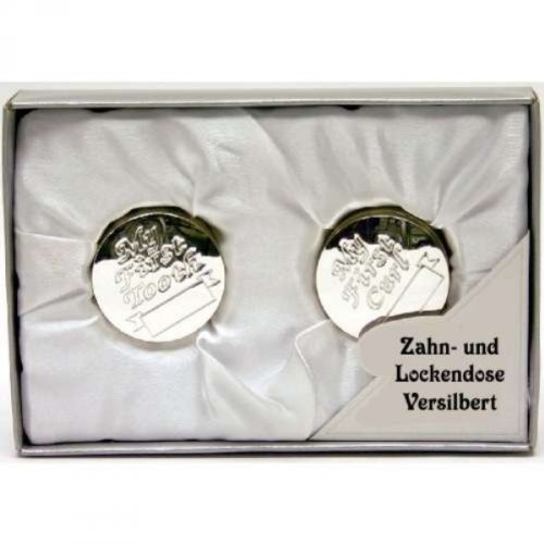 Gravur von Geschenkbox/® Versilbertes Geschenkset mit Lockendose /& Zahndose inkl