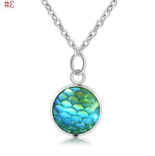 Kaputar Fashion Womens Mermaid Fish Scale Charm Pendant Silver Chain Necklace Jewelry | Model NCKLCS - 16136 | ()