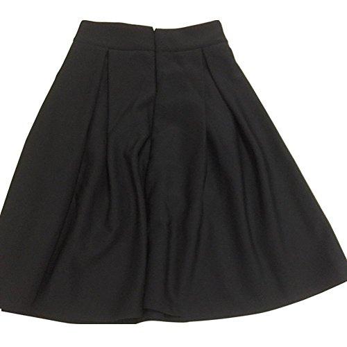 Minetom Mujeres Niñas Elegante Afueras Rodilla Longitud Cintura Alta Minifalda Falda Plisada Vestidos Negro