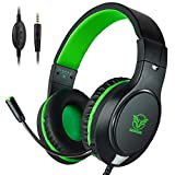 Headset Gaming for PS4 ,Xbox One Controller ,Wired Noise Isolation, Over-Ear Headphones with Mic ,Stereo Gamer Headphones 3.5mm(Green)
