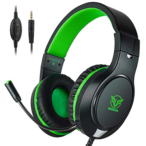 Headset Gaming for PS4 ,Xbox One Controller ,Wired Noise Isolation, Over-Ear Headphones with Mic ,Stereo Gamer Headphones 3.5mm(Green) (Ambient Noise Controller)