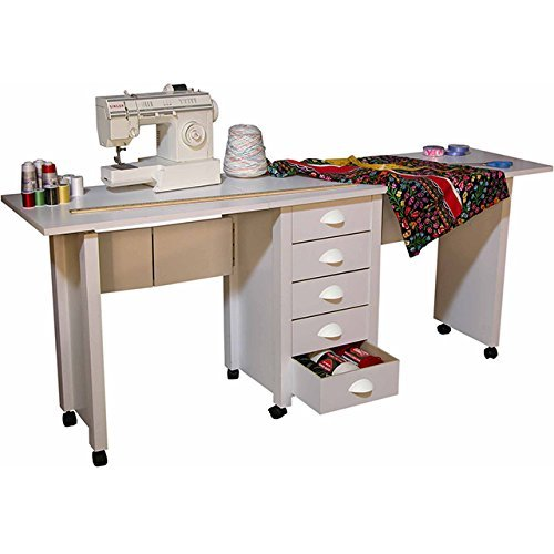 Venture Horizon Double Mobile Desk and Craft Center- White