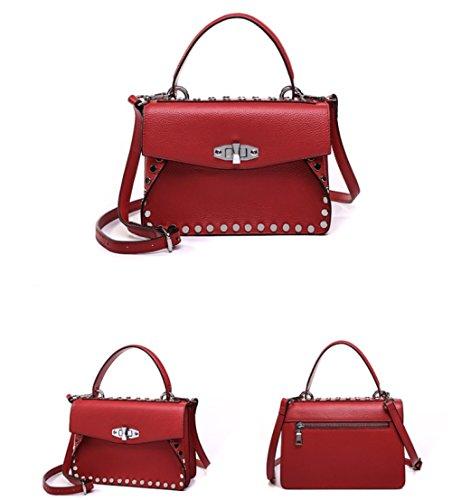 De red Véritable Messager Multi à Main Sac Bandoulière Sac à Sac Shopping poches Fille Mode Cuir fTqOxnZRBw