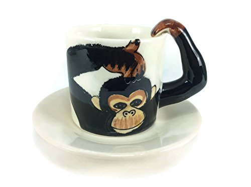Monkey Chimpanzee Tea Cup Enamel Cartoon Painted Milk Glass Coffee cup Cute Mug Anime Tea Cup Giant Mug Spirit Animal for Kid (And Saucer Cup Coffee Giant)