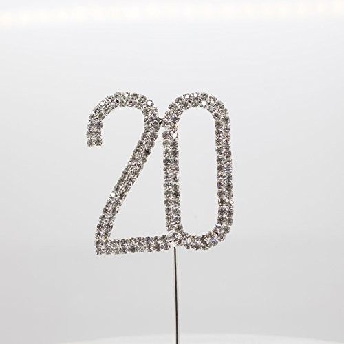 (AngHui ShiPin 1pcs Number 20 Numeral Diamante Metal Cake Topper Crystal Rhinestone Monogram Wedding Anniversary Birthday Party Decoration)