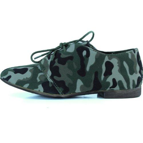 Kvinna Klassiska Snörning Platta Balett Loafers Oxford Sneaker Skor Grön Kamouflage