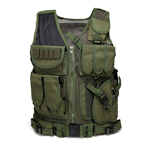 MINGWANG Tactical Vest Training Airsoft Vest, Ultra-Light Breathable Combat Adjustable Outdoors Vest (Green)