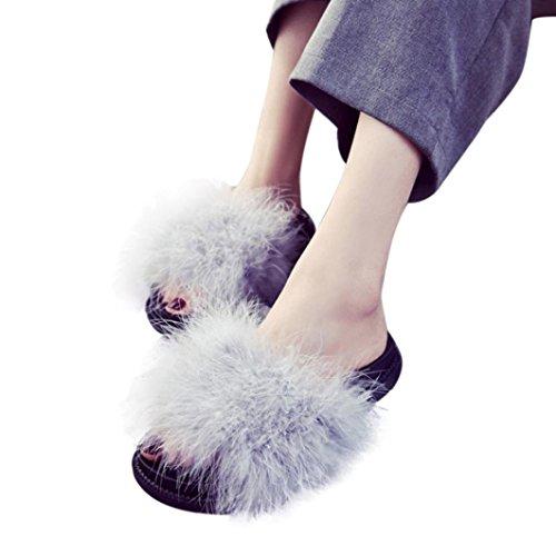 Creazy Kvinners Damer Gli På Glidebrytere Fluffy Kanin Pels Flate Tøffel Flip-flop Sandal (38, Svart) Grå