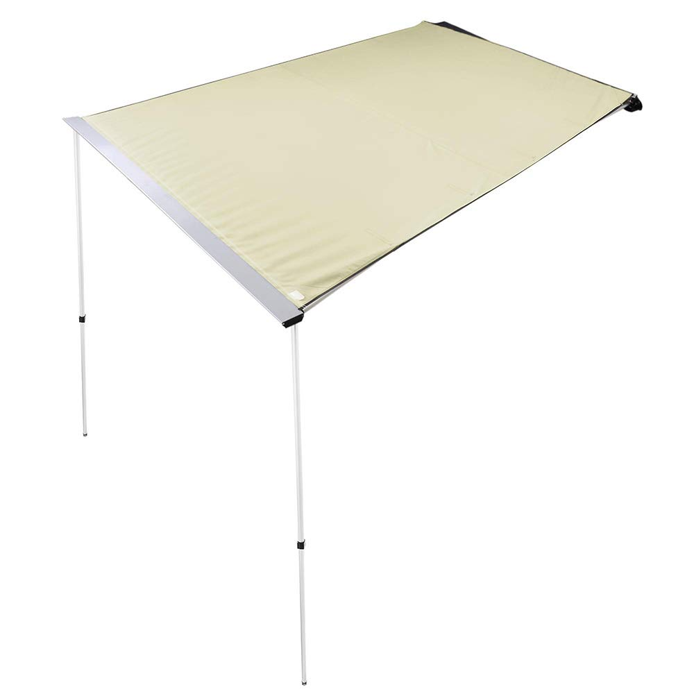 ZeHuoGe 200x250CM Beige Car Side Awning Rooftop Pull Out Tent Shelter PU2000mm UV50 200x250cm, Beige Telescoping Poles Twist-Lock Aluminum Alloy Structure Shade Outdoor Camping US Delivery