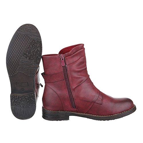 Damen Design Stiefeletten Schuhe Schlupfstiefel Reißverschluss Ital Weinrot Blockabsatz Stiefeletten Komfort Gefütterte Leicht wtdqvv71n