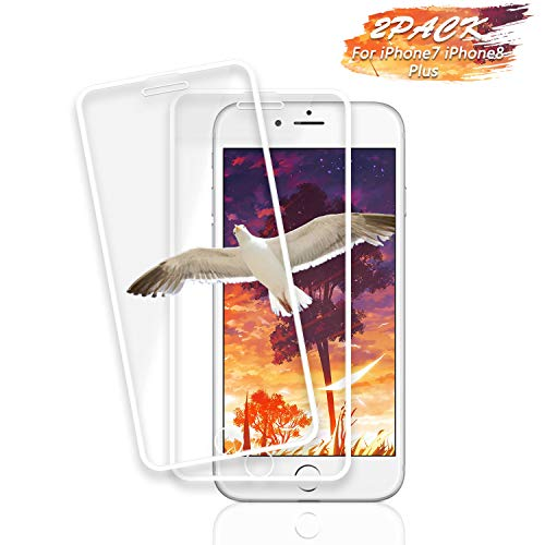 Haorz iPhone 8 Plus 7 Plus 6S Plus 6 Plus Screen Protector [2 Pack] Full Coverage HD Tempered Glass Film Protection 3D-Touch Anti Fingerprint Compatible with iPhone 8 Plus 7 Plus 6S Plus 6 Plus -White