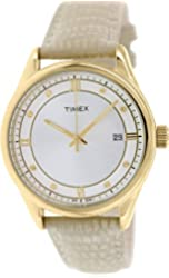 Timex Women's Classic | White Leather Strap Roman Numerals | Dress Watch T2P556
