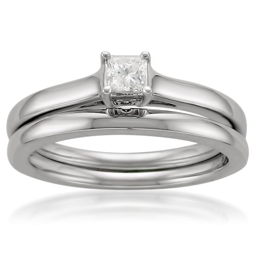 14k White Gold Princess-Cut Solitaire Diamond Bridal Ring Set (1/4 cttw, I-J, I2-I3), Size 6