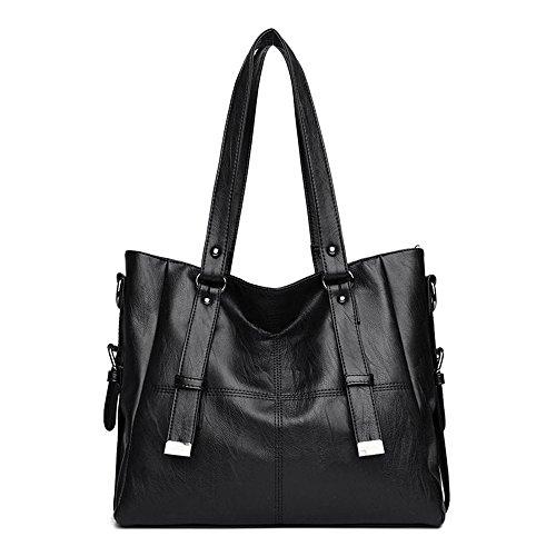 Meaeo La nueva bolsa de gran capacidad hombro moda bolso bolso de cuero cosido, negro black