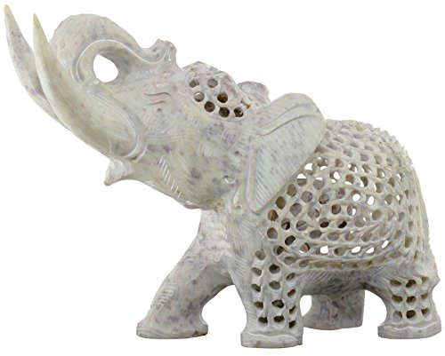 BIG CHRISTMAS SALE on Statue White Elephant Statue Trunk Up Figurine Wealthy Lucky Sculpture Big 8 Inch Quality & Precious Stone Work by SouvNear