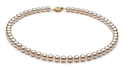 Blanc 6-6.5mm AAAA-qualité perles d'eau douce 585/1000 Or Jaune-un set en perles