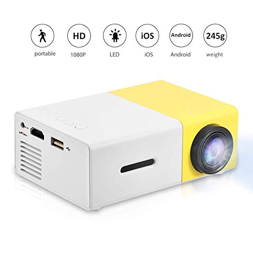 Mini Projector, Portable 1080P LED Projector Home Cinema Theater Movie Projectors Support HDMI / AV / USB / TF Card Input Great Gift Pocket Projector for Party and Camping(Yellow)