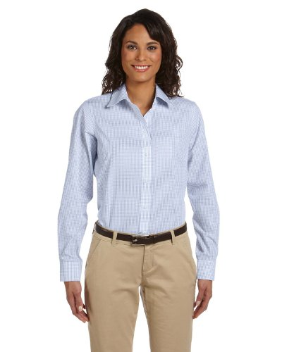 Chestnut Hill Women's Long Sleeve Executive Performance Broadcloth Button Down Dress Shirt (CH600W) blue - Executive Performance Broadcloth