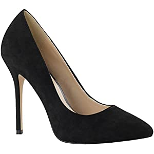 Summitfashions Black Patent Wide Width Heels with Concealed Platform and 5.75 Inch Stilettos
