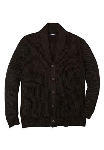 KingSize Men's Big & Tall Shaker Knit Shawl-Collar Cardigan Sweater, Black (Cardigan Collar Sweater)