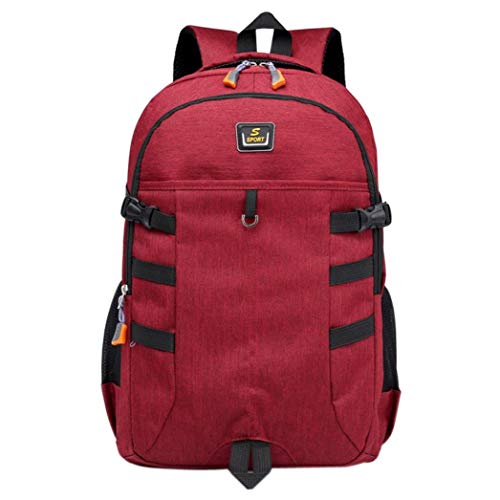 Capacity Computer Student Unisex Bag Backpack Bag Bag Red Large Travel Bag EUzeo Nylon p80tWqtn