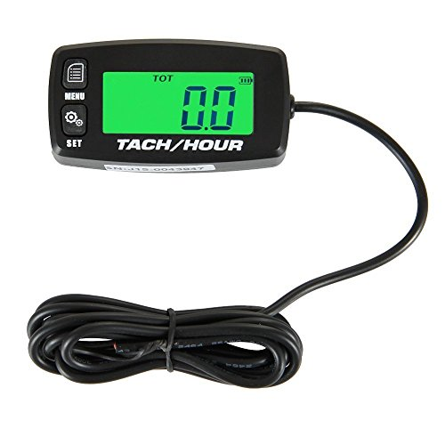 Runleader HM032R Inductive Tachometer Digital Tach Hour Meter Backlit Flash Alert Service Alarms for Gasoline Engine Chainsaw ATV UTV Dirtbike Motobike Motocycle Outboards Snowmobile Marine Boat